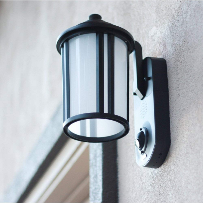 Porch Light With Camera: Maximus Motion Outdoor Black Wifi Security Camera