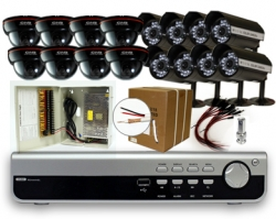 16 Camera DVR Package With 16IR Bullets & Domes 500GB