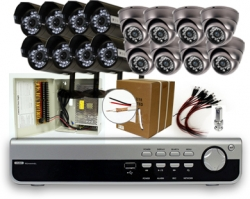16 Camera DVR Package With 16 IR Dome Bullet Cameras 500GB