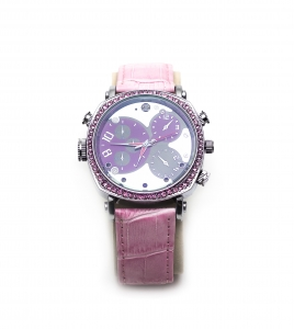 Pink Elegant Ladies Night Vision Watch With 1080P HD Camera