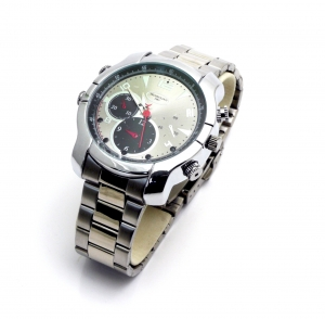 Elegant Silver Wrist Watch With Night Vision 1080P HD Camera