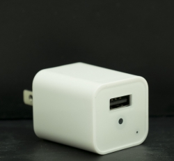 White USB Wall plug Outlet Phone Charger With 1080P HD Camera