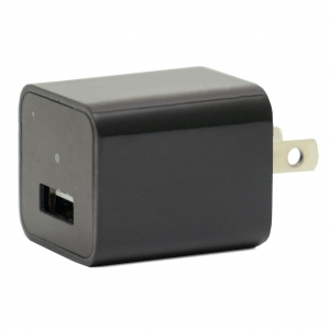 Single USB Smartphone Wall Adapter Black Charger With 1080P HD Camera