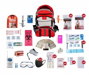 2 Person 72+ Hour Deluxe Emergency Survival Medical Food Backpack Kit