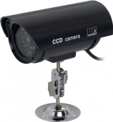 Dummy Black Silver Bullet Camera with Blinking Red LED